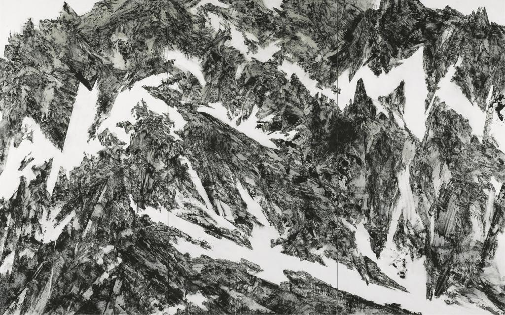 春原直人 Underneath 2021 和紙に岩絵具、墨 250×399×5cm 【撮影 上野則宏】