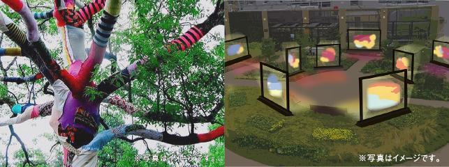 「ちばアート祭2021」屋外作品展 展示イメージ(左:大川友希:木にカラフルな布が巻き付けられている、右:杉本将己:薄暗い広場に多数のディスプレイが並べられている。