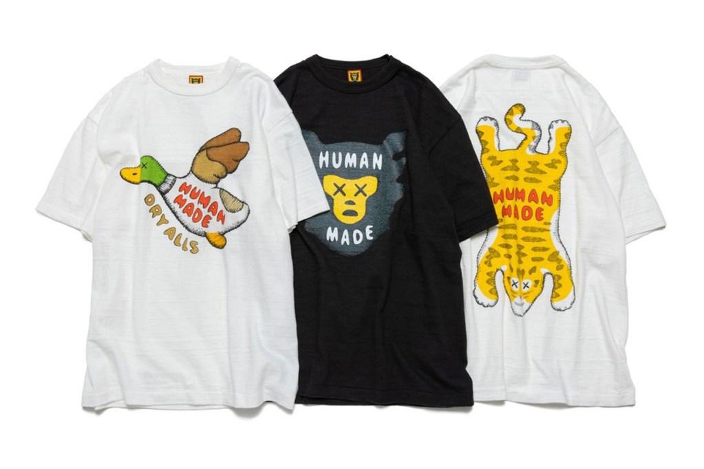 今回発表されたKAWS x HUMAN MADE®️ コラボTシャツ。HUMAN MADE のアイコニックなキャラクターたちの目が×印になっている。 画像引用:https://hypebeast.com/