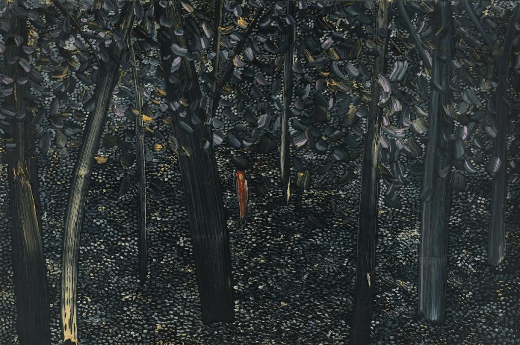≪Figure in a Landscape≫ / Matthew Wong 暗い森の風景の中心に人がたたずんでいる